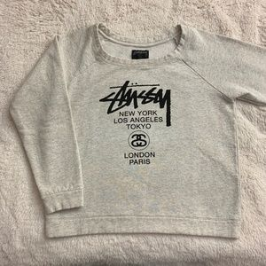 Stussy Light Gray Long Sleeve Crewneck Sweater